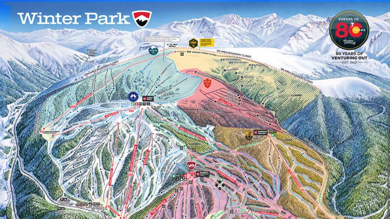 Winter Park Map UPDATED Lift, Trail & Weather Report in Winter Park | Winter Park  Winter Park Map